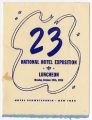 23 National Hotel Exposition, Hotel Pennsylvania, luncheon menu